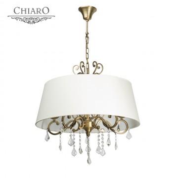 Подвесная люстра Chiaro София 355011905, 5xE14x60W, бронза, белый, прозрачный, металл, текстиль, хрусталь