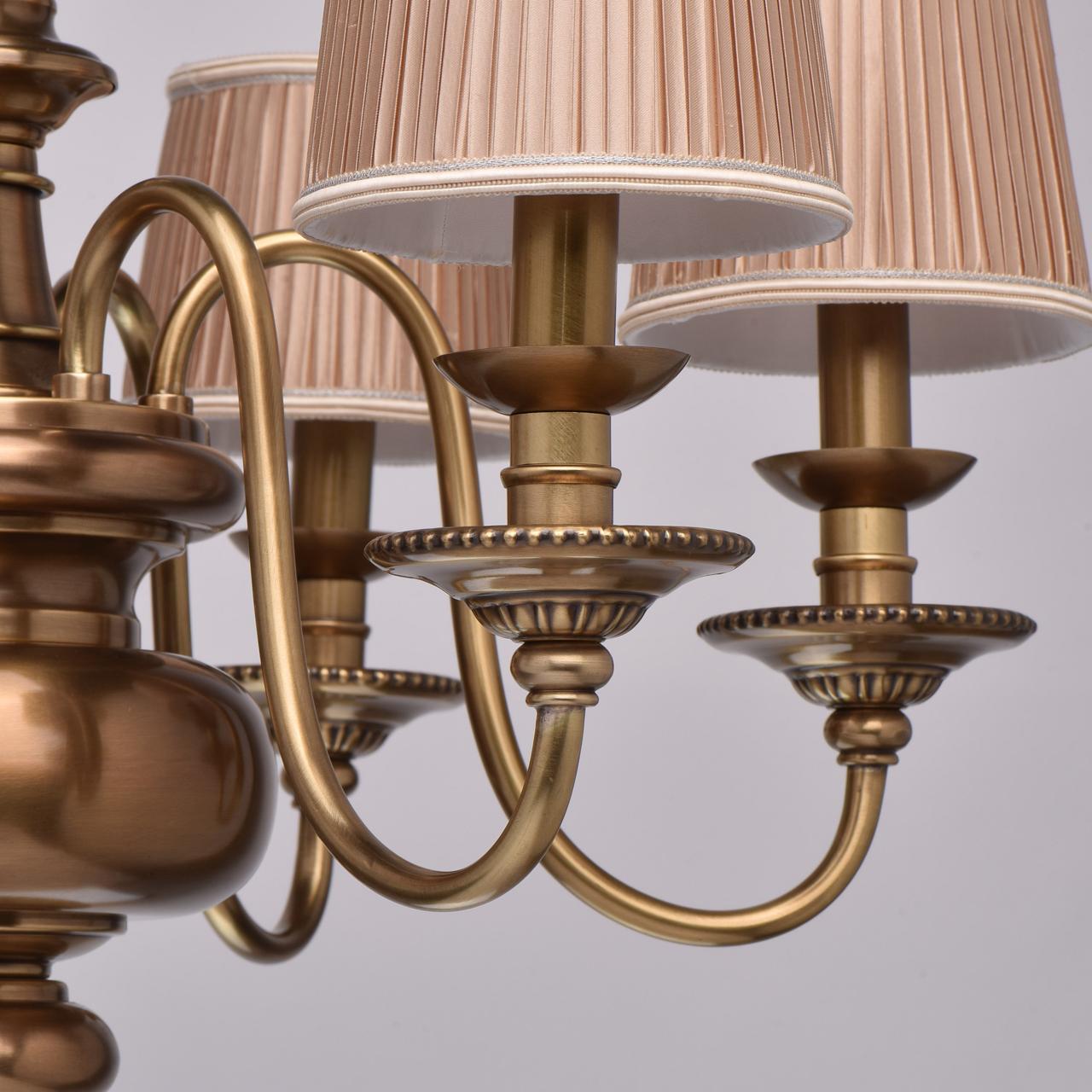 Подвесная люстра Chiaro Паула 411010806, 6xE14x60W, латунь, бежевый, металл, текстиль - фото 11