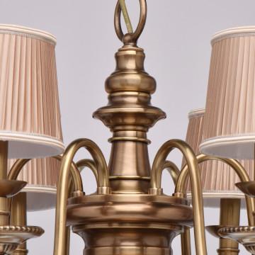 Подвесная люстра Chiaro Паула 411010806, 6xE14x60W, латунь, бежевый, металл, текстиль - миниатюра 14
