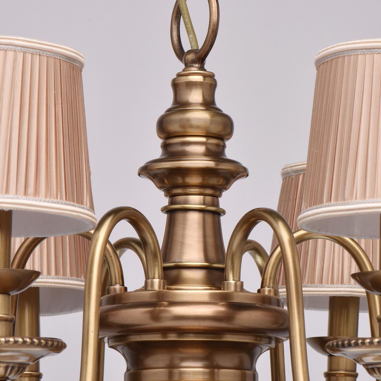 Подвесная люстра Chiaro Паула 411010806, 6xE14x60W, латунь, бежевый, металл, текстиль - фото 14