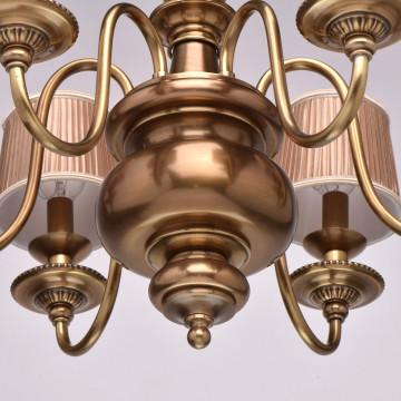 Подвесная люстра Chiaro Паула 411010806, 6xE14x60W, латунь, бежевый, металл, текстиль - миниатюра 6