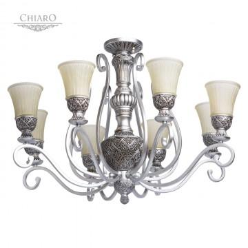 Потолочно-подвесная люстра MW-Light Версаче 254010908, 8xE27x60W, черненое серебро, бежевый, металл, стекло