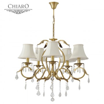 Подвесная люстра Chiaro София 355011805, 5xE14x60W, бронза, белый, прозрачный, металл, текстиль, хрусталь