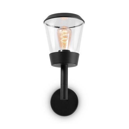 Светильник Maytoni Faro O039WL-01B, IP54, 1xE27x23W, черный, черный с прозрачным, прозрачный с черным, металл, пластик