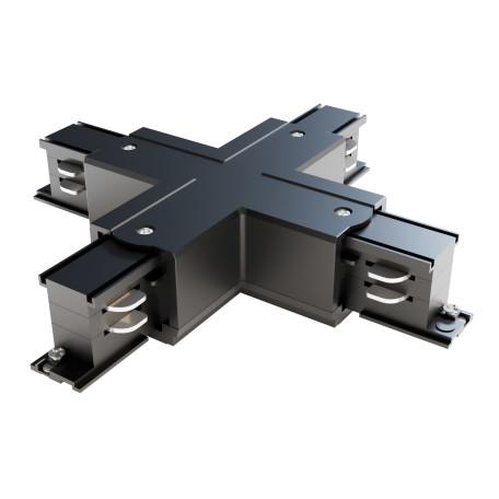 X-образный соединитель питания для треков Maytoni 3 phase track system TRA005CX-31B, черный, пластик