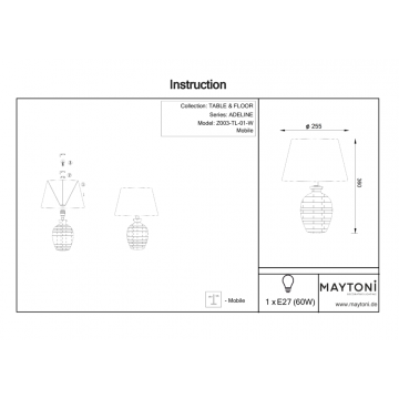 Схема с размерами Maytoni Z003-TL-01-W