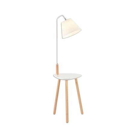 Торшер со столиком Kink Light Сурен 07195,01, 1xE27x40W, белый, коричневый, дерево, металл, текстиль