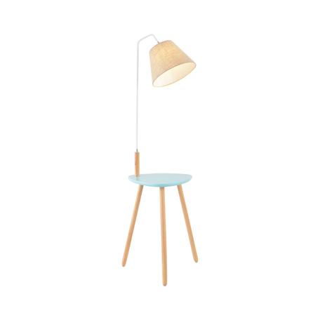 Торшер со столиком Kink Light Сурен 07195,05, 1xE27x40W, голубой, коричневый, бежевый, дерево, металл, текстиль