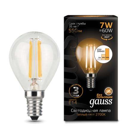 Филаментная светодиодная лампа Gauss 105801107-S шар E14 7W, 2700K (теплый) CRI>90 185-265V, диммируемая, гарантия 3 года