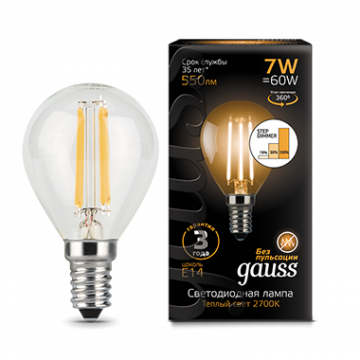 Филаментная светодиодная лампа Gauss 105801107-S шар малый E14 7W, 2700K (теплый) CRI>90 185-265V, диммируемая, гарантия 3 года - миниатюра 2