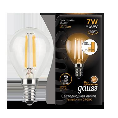 Филаментная светодиодная лампа Gauss 105801107-S шар малый E14 7W, 2700K (теплый) CRI>90 185-265V, диммируемая, гарантия 3 года - фото 2
