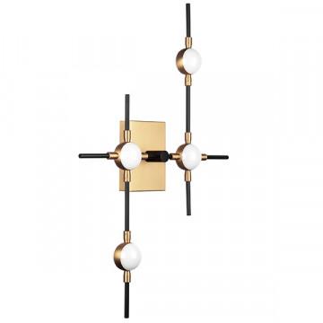 Настенный светодиодный светильник Lightstar Bergamo 745647, LED 20W 4000K 1600lm, черный, матовое золото, металл, металл с пластиком