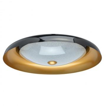 Потолочный светодиодный светильник De Markt Ривз 674016501, LED 30W 3000K (теплый), черный, матовое золото, металл, стекло