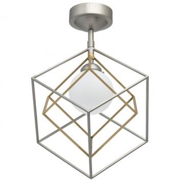 Потолочный светодиодный светильник De Markt Призма 726010301, LED 7W 3000K (теплый), никель, белый, бронза, металл, стекло