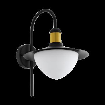 Настенный фонарь Eglo Sirmione 97285, IP44, 1xE27x60W, черный, металл, металл со стеклом/пластиком