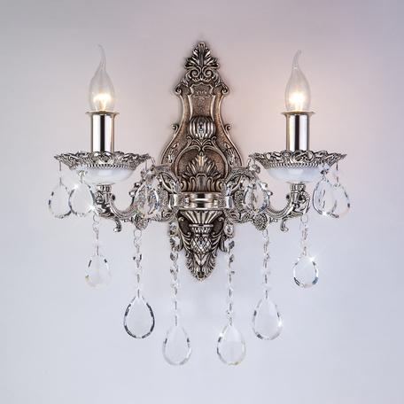 Бра Bogate's Versales 283/2 Strotskis, 2xE14x60W, серебро, прозрачный, металл, хрусталь