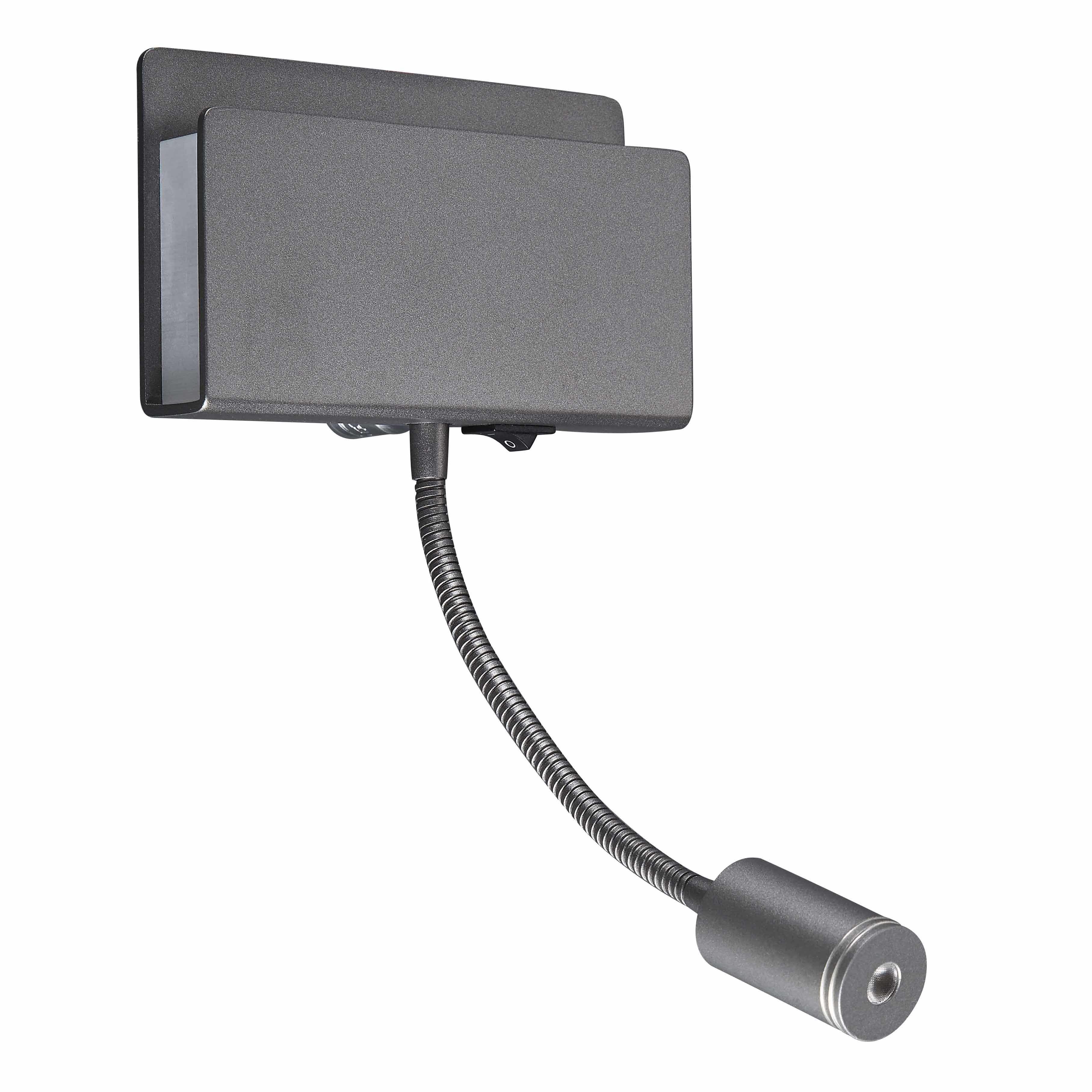 Настенный светильник с регулировкой направления света с дополнительной подсветкой Mantra Cabarete 5714, белый, черный, металл, пластик - фото 1