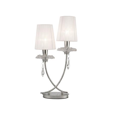 Настольная лампа Mantra Sophie 6306, прозрачный с серебром, белый, прозрачный, металл, стекло, текстиль, хрусталь