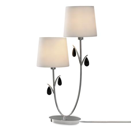 Настольная лампа Mantra Andrea 6318, хром, белый, черный, металл, текстиль, хрусталь