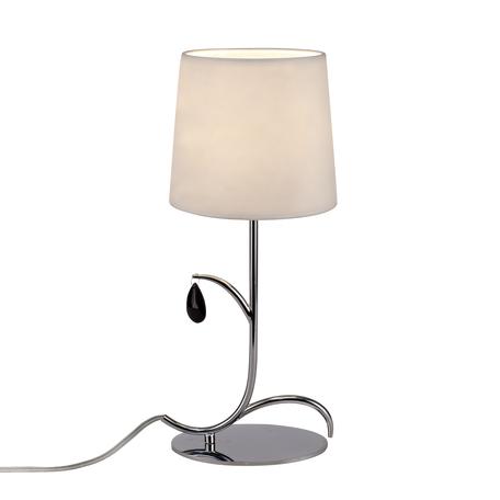 Настольная лампа Mantra Andrea 6319, хром, белый, черный, металл, текстиль, хрусталь