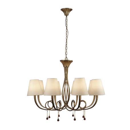 Подвесная люстра Mantra Paola 6205, матовое золото, белый, черный, металл, текстиль, стекло