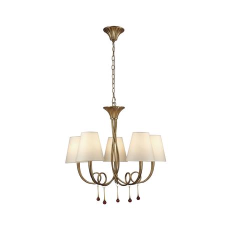 Подвесная люстра Mantra Paola 6206, матовое золото, белый, черный, металл, текстиль, стекло
