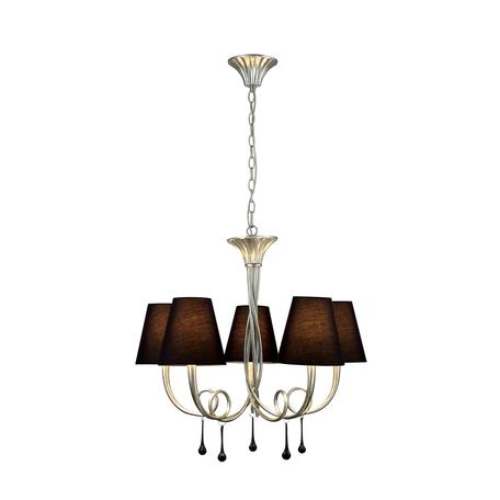 Подвесная люстра Mantra Paola 6208, серебро, черный, металл, текстиль, стекло