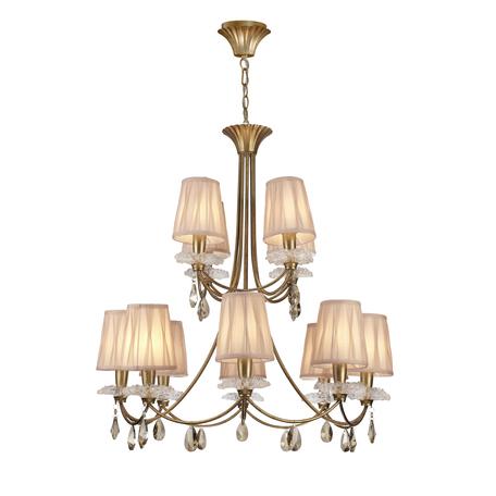 Подвесная люстра Mantra Sophie 6290, матовое золото, прозрачный, бежевый, металл, стекло, текстиль, хрусталь