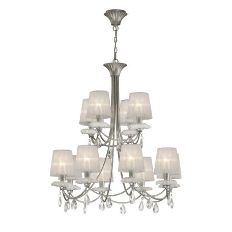Подвесная люстра Mantra Sophie 6300, прозрачный, серебро, белый, металл, стекло, текстиль, хрусталь