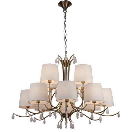 Подвесная люстра Mantra Andrea 6330, золото, белый, металл, текстиль, хрусталь
