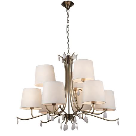 Подвесная люстра Mantra Andrea 6331, золото, белый, металл, текстиль, хрусталь