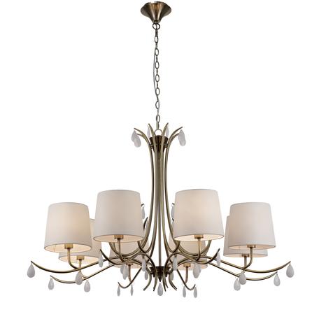 Подвесная люстра Mantra Andrea 6332, золото, белый, металл, текстиль, хрусталь