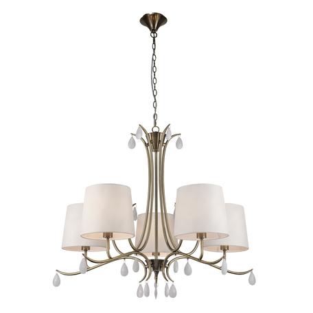 Подвесная люстра Mantra Andrea 6334, золото, белый, металл, текстиль, хрусталь
