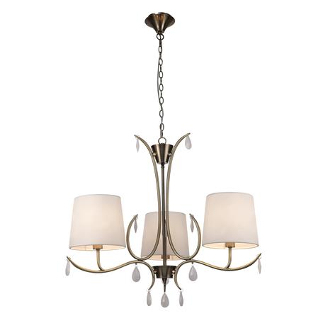 Подвесная люстра Mantra Andrea 6335, золото, белый, металл, текстиль, хрусталь