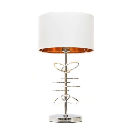 Настольная лампа Lumina Deco Milari LDT 5530 CHR+WT, 1xE27x40W, хром, белый, металл, текстиль