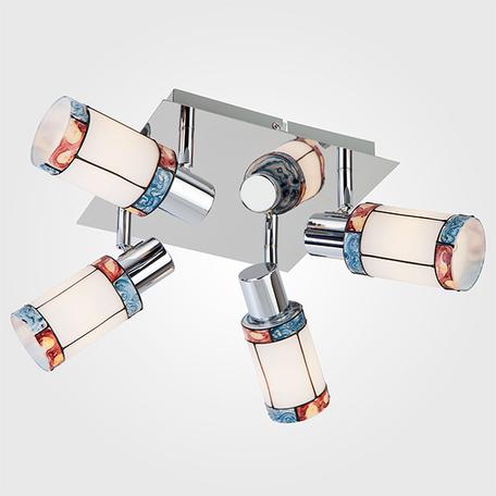 Потолочная люстра Eurosvet Tiffany 20054/4 хром, 4xE14x40W, хром, разноцветный, металл, стекло