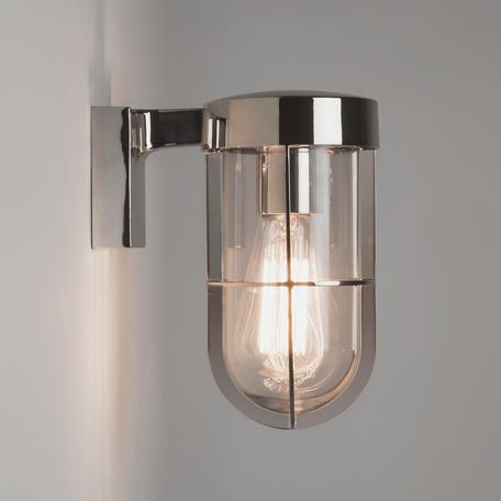 Настенный фонарь Astro Cabin 1368004 (7560), IP44, 1xE27x60W, хром, прозрачный, металл, металл со стеклом