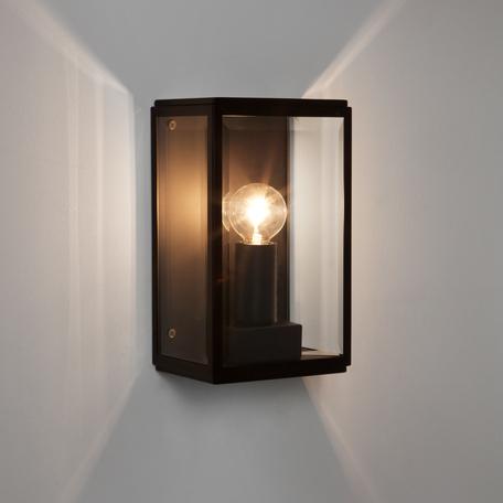 Настенный светильник Astro Homefield 1095013 (7590), IP44, 1xE14x60W, черный, прозрачный, стекло