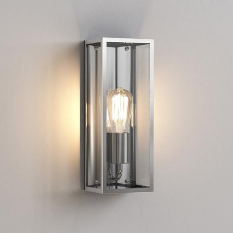 Настенный светильник Astro Messina 1183006 (7860), IP44, 1xE27x60W, никель, прозрачный, стекло