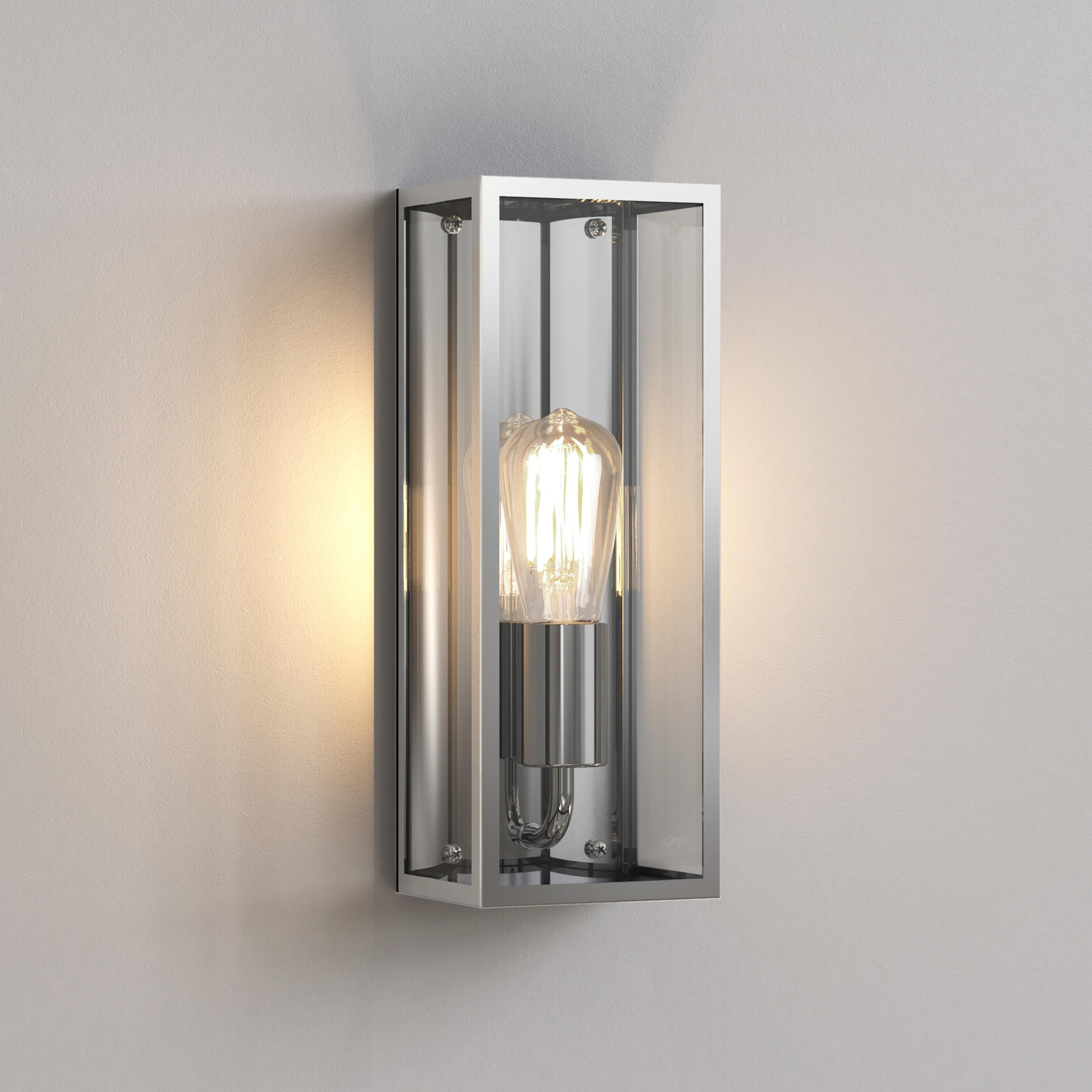 Настенный светильник Astro Messina 1183006 (7860), IP44, 1xE27x60W, никель, прозрачный, стекло - фото 1