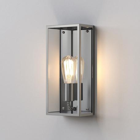 Настенный светильник Astro Messina 1183008 (7879), IP44, 1xE27x60W, никель, прозрачный, стекло