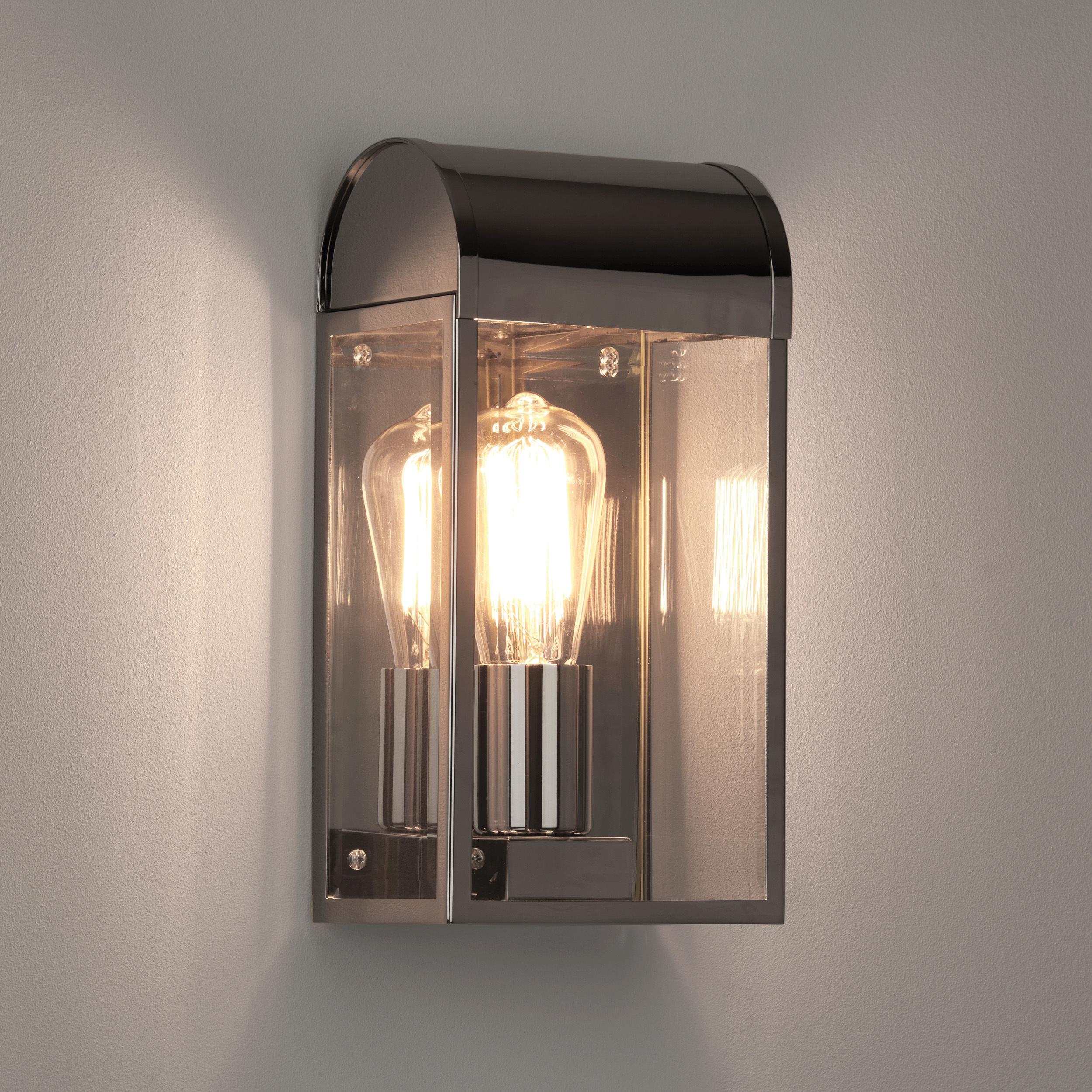 Настенный светильник Astro Newbury 1339002 (7863), IP44, 1xE27x60W, никель, прозрачный, стекло - фото 1