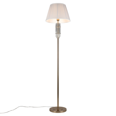 Светильник Aployt Zhaklin APL.744.05.01, 1xE27x60W, золото с прозрачным, белый, металл с хрусталем, текстиль