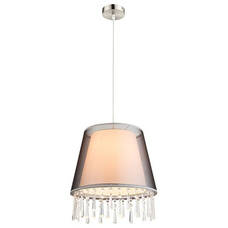 Подвесной светильник Globo Satine 15093H, 1xE27x60W, никель, черный, черно-белый, металл, пластик, стекло