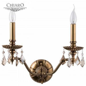 Бра Chiaro Габриэль 491021302, 2xE14x60W, бронза, коньячный, металл, хрусталь