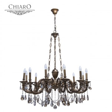 Подвесная люстра Chiaro Габриэль 491010712, 12xE14x60W, бронза, коньячный, металл, хрусталь