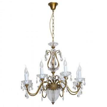 Подвесная люстра MW-Light Селена 482010308, латунь, прозрачный, металл, стекло, хрусталь