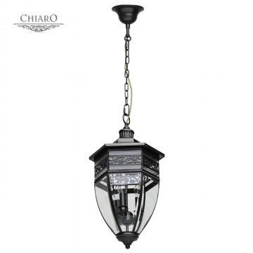Подвесной светильник Chiaro Корсо 801010403, IP44, 3xE14x60W, черный, прозрачный, металл, ковка, металл со стеклом