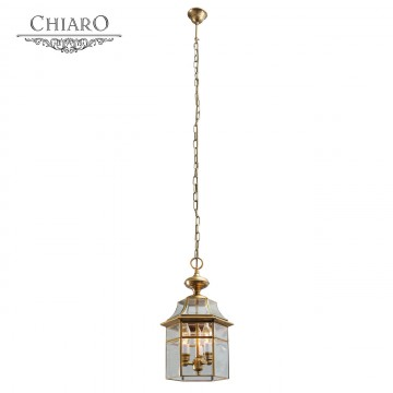 Подвесной светильник Chiaro Мидос 802010303, IP44, 3xE14x40W, бронза, прозрачный, металл, металл со стеклом