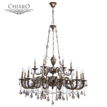 Подвесная люстра Chiaro Габриэль 491010918, 18xE14x60W, бронза, коньячный, металл, хрусталь